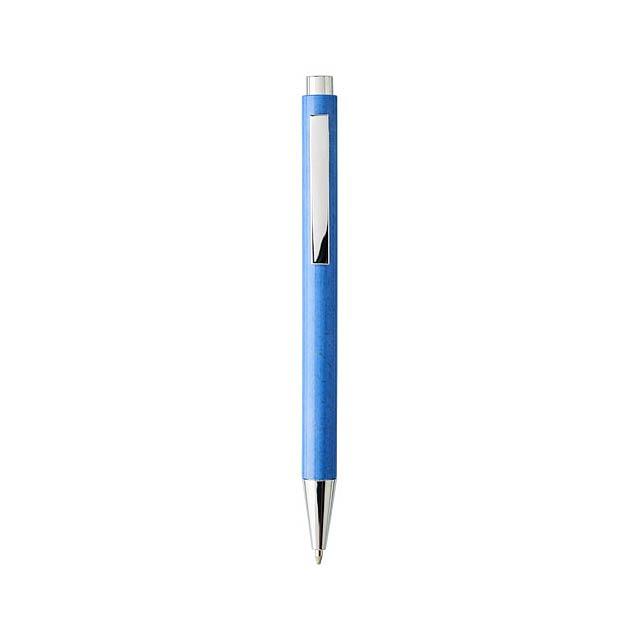 Tual kuličkové pero se stiskacím mechanismem z pšeničné slám - modrá