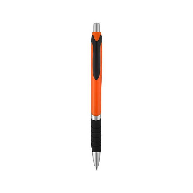 Neprůhledné kuličkové pero Turbo s pryžovým úchopem - oranžová