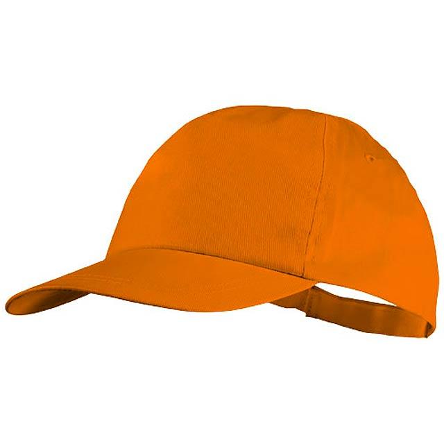 Bavlněná čepice Basic, 5 panelů - oranžová