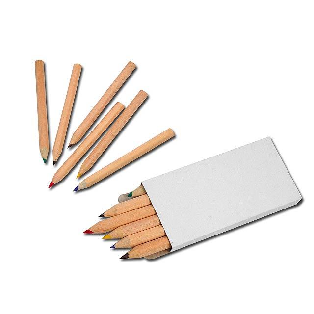 GOGH - 6 short wooden crayons, sharpened. - brown