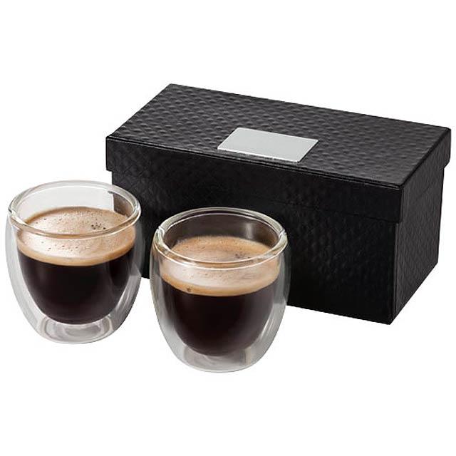 Dvojdílná skleněná sada na espresso Boda - transparentní