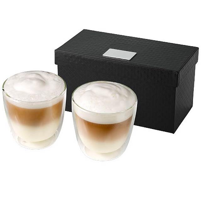 Dvojdílná skleněná sada na kávu Boda - transparentní