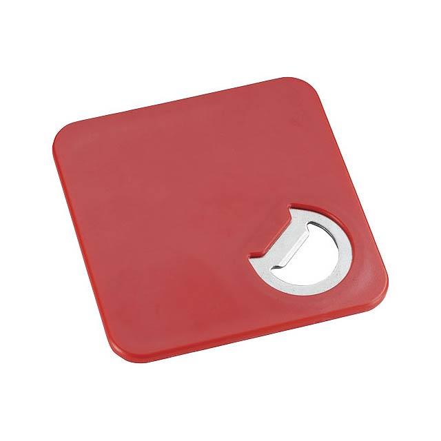 Otvírák lahví a tácek Robin 2v1 - transparentní červená
