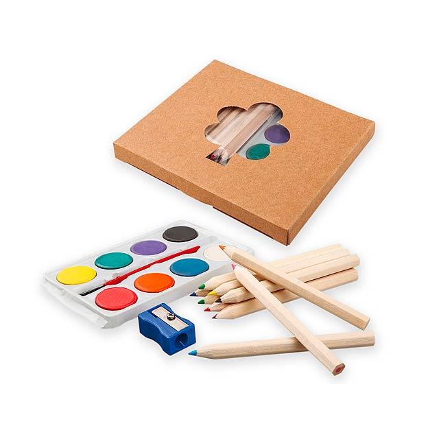 OSTADE - Sada 10 ořezaných krátkých pastelek, vodových barev s plastovýcm štětcem a 1 plastového ořezávátka.   - dřevo