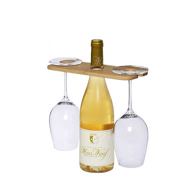 Držák na víno a skleničky Mill - dřevo