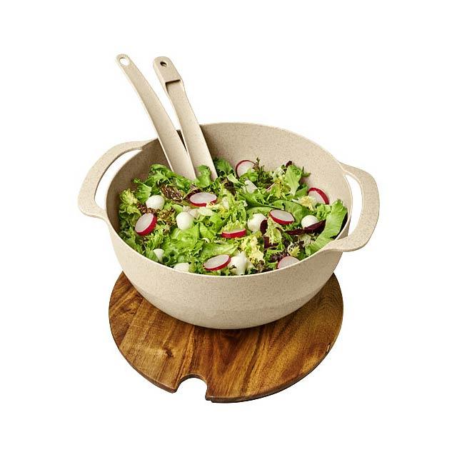 Salátová mísa Lucha z pšeničné slámy se servírovacím příbore - béžová