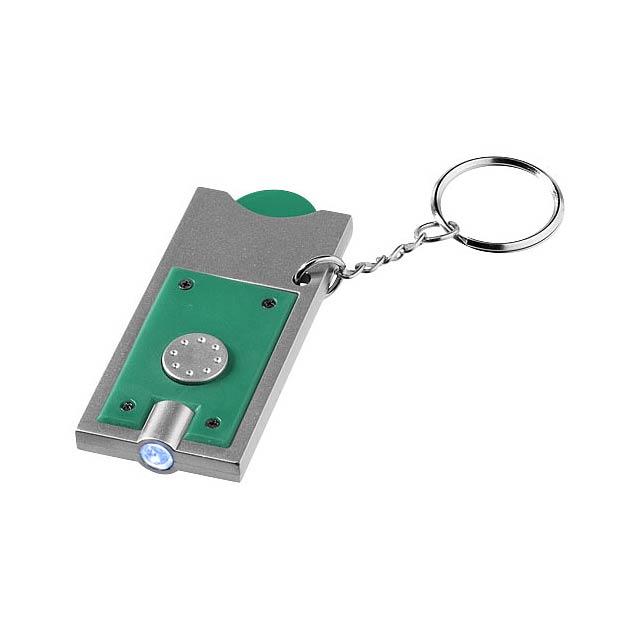 Klíčenkový držák na žeton Allegro s LED svítilnou - zelená