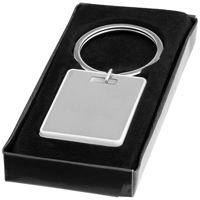 Obdélníkový přívěsek na klíče Donato - stříbrná