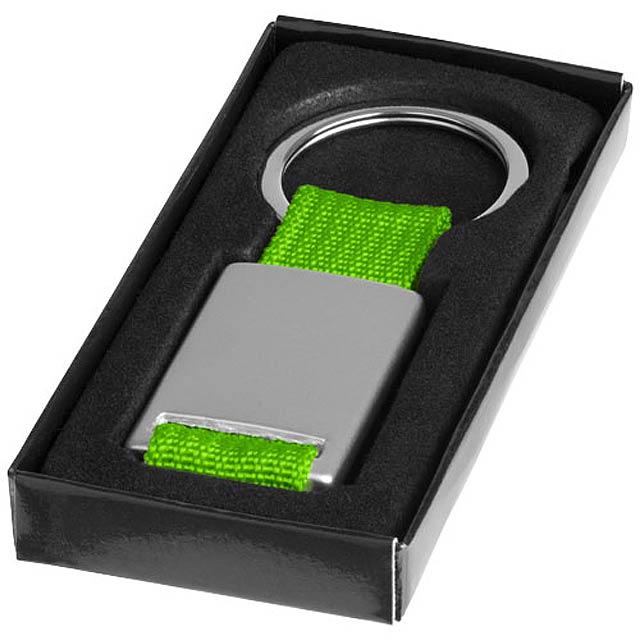 Přívěsek na klíče Alvaro s tkaným páskem - stříbrná