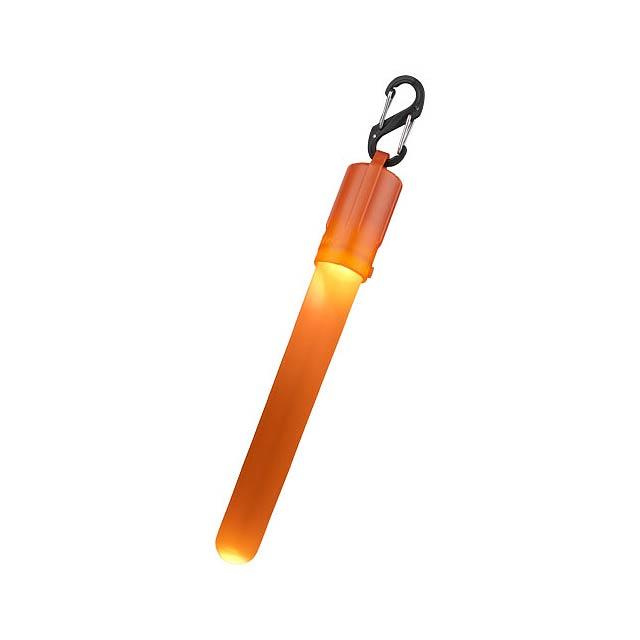 LED tyčinka Fluo se sponou. LED svítící tyčinka s barevnou krytkou a barevným světlem LED. Zahrnuje dvojitou karabinku a otočný on/off zapínač. Baterie jsou součástí dodávky. PP plast.  - oranžová - foto