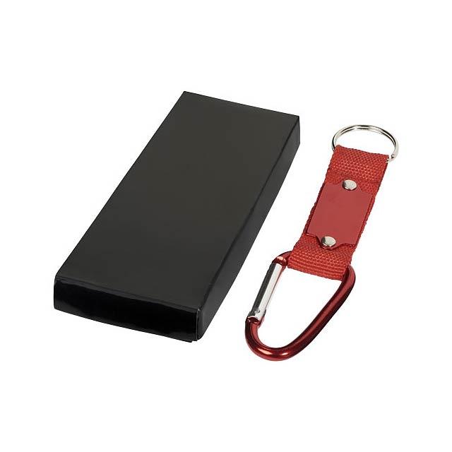 Přívěsek na klíče Strap s karabinkou - transparentní červená