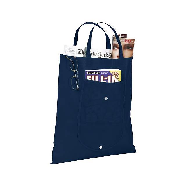 Skládaná netkaná taška - modrá