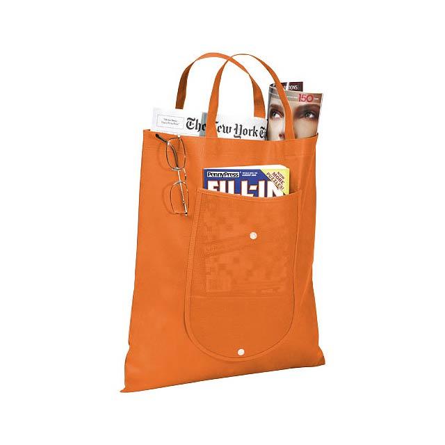 Skládaná netkaná taška - oranžová
