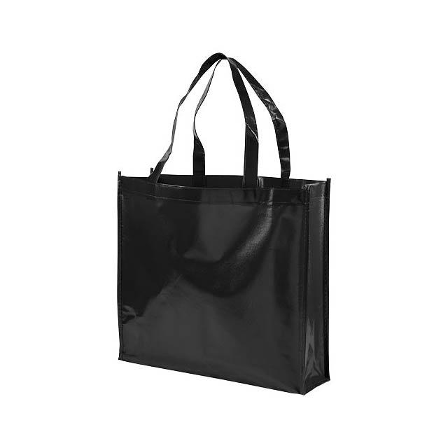 Laminovaná netkaná nákupní odnoska Shiny - černá