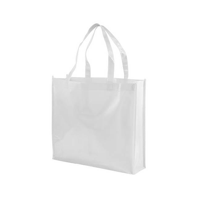 Laminovaná netkaná nákupní odnoska Shiny - bílá