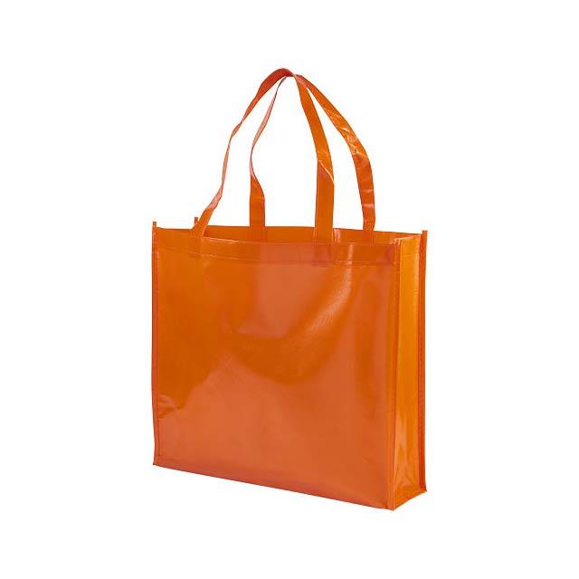 Laminovaná netkaná nákupní odnoska Shiny - oranžová