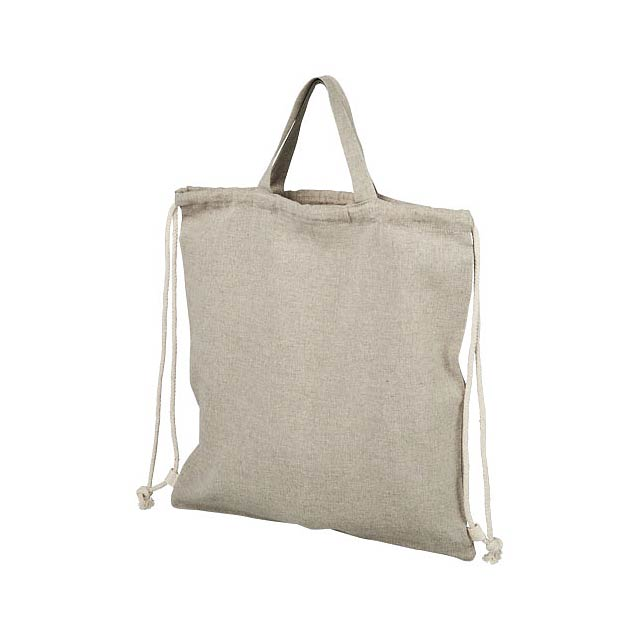 Pheebs šňůrkový batoh z recyklované bavlny 150 g/m². - béžová