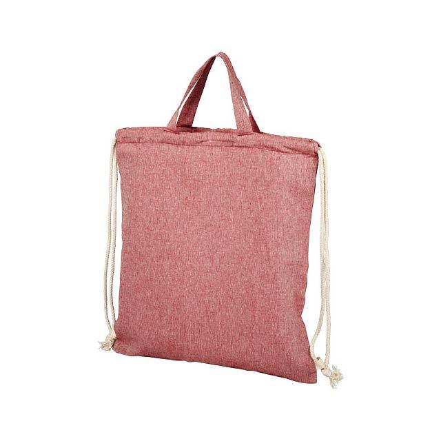 Pheebs šňůrkový batoh z recyklované bavlny 150 g/m². - červená