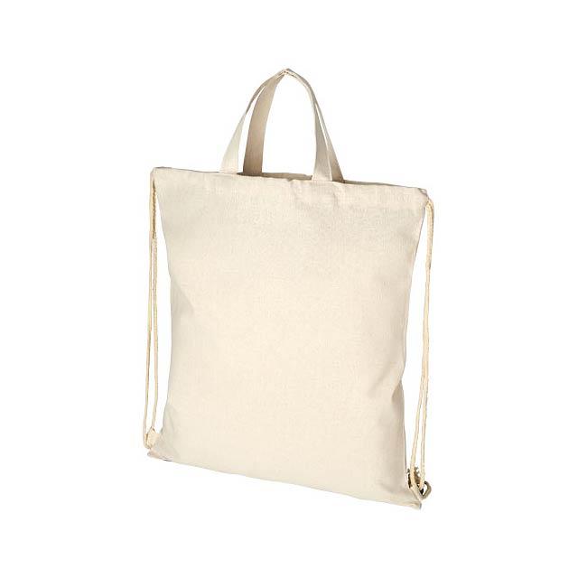 Pheebs šňůrkový batoh z recyklované bavlny 210 g/m² - béžová