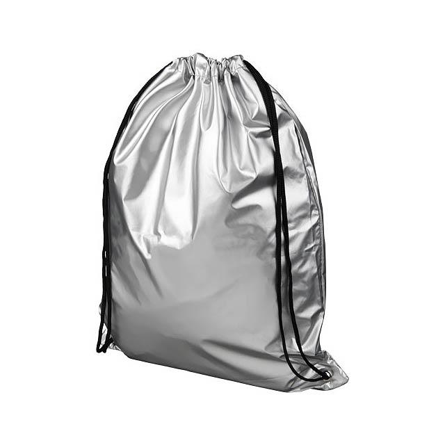 Oriole lesklý šňůrkový batoh - stříbrná