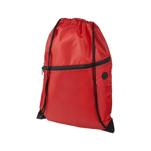 Oriole šňůrkový batoh se zipem - transparentní červená