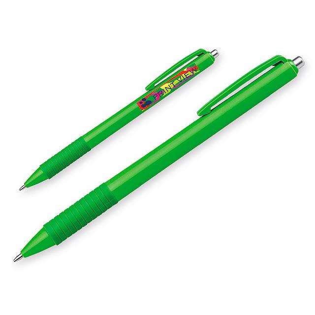 MILZA - Kunststoffkugelschreiber mit Gummigrip und blauschreibender Mine - Grün