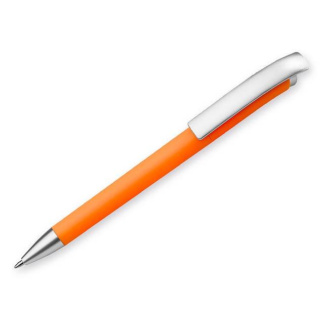 BENDER plastové kuličkové pero, modrá náplň, Oranžová - oranžová