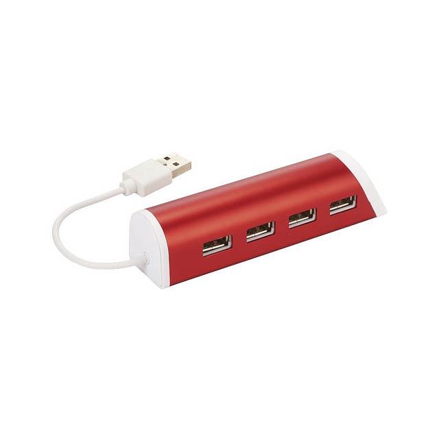 Hliníkový rozbočovač se 4 porty USB Power a stojánek telefon - transparentní červená