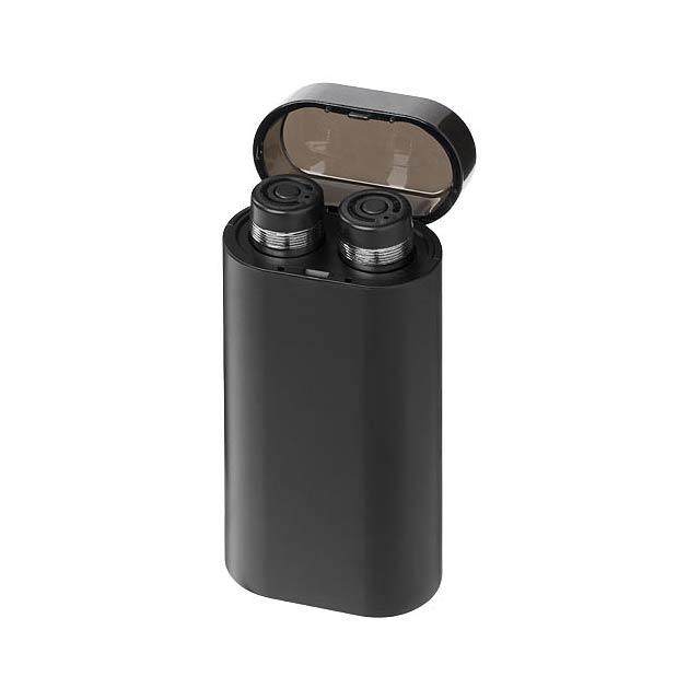 Sluchátka Glow TrueWireless se svítící powerbankou - černá