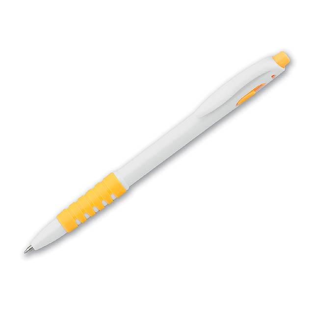 DORAN - Kunststoffkugelschreiber mit Gummigrip und blauschreibender Mine. - Gelb
