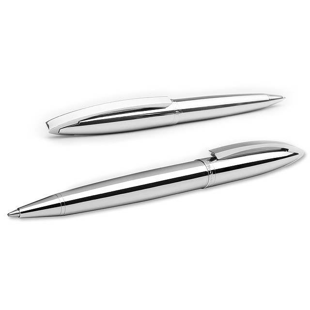 TIAGO - kovové kuličkové pero, SANTINI - stříbrná