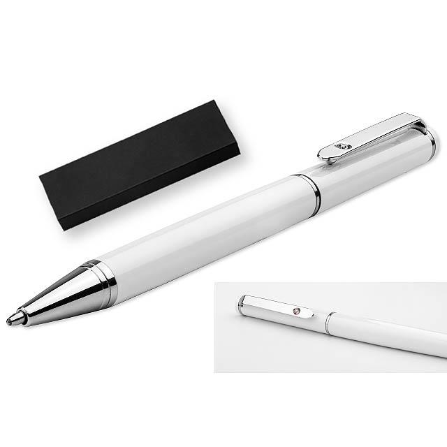 CALIOPE - kovové guľôčkové pero v darčekovej krabičke, SANTINI - biela