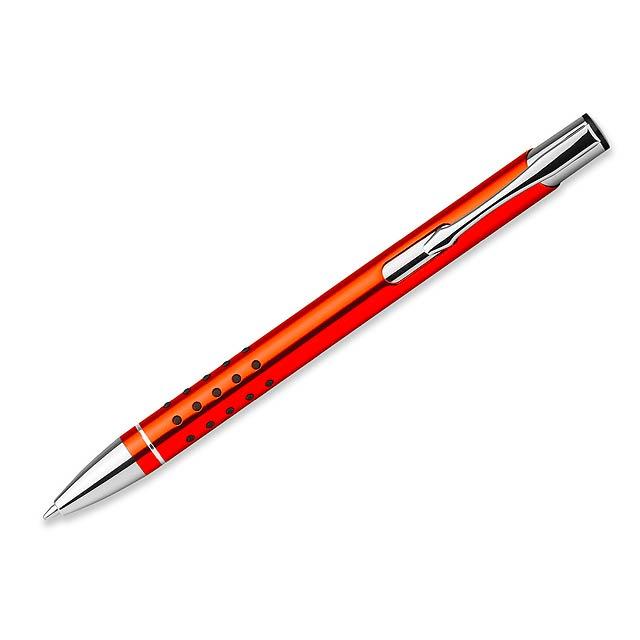 OLEG DOTS kovové kuličkové pero, modrá náplň, Oranžová - oranžová