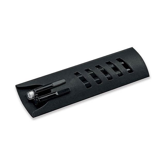 CORPEN - Schreibset mit Kunststoffkugelschreiber und Druckbleistift im Papieretui, blauschreibende Mine - schwarz