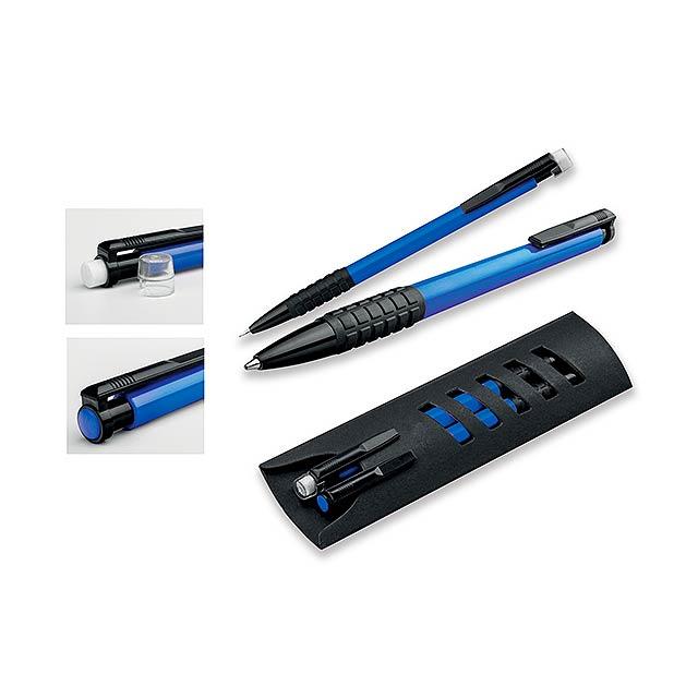 CORPEN - Schreibset mit Kunststoffkugelschreiber und Druckbleistift im Papieretui, blauschreibende Mine - blau