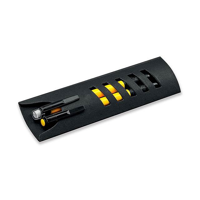 CORPEN - Schreibset mit Kunststoffkugelschreiber und Druckbleistift im Papieretui, blauschreibende Mine. - Gelb