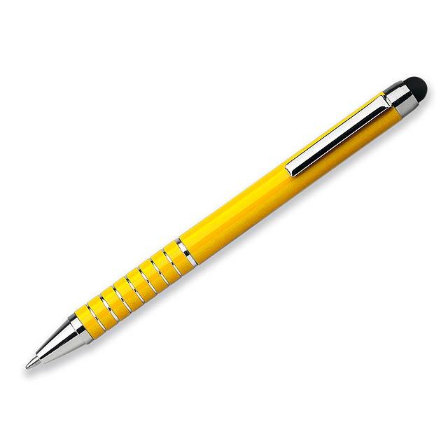 SHORTY - Kovové kuličkové pero s modrou náplní a funkcí touch pen.       - žlutá
