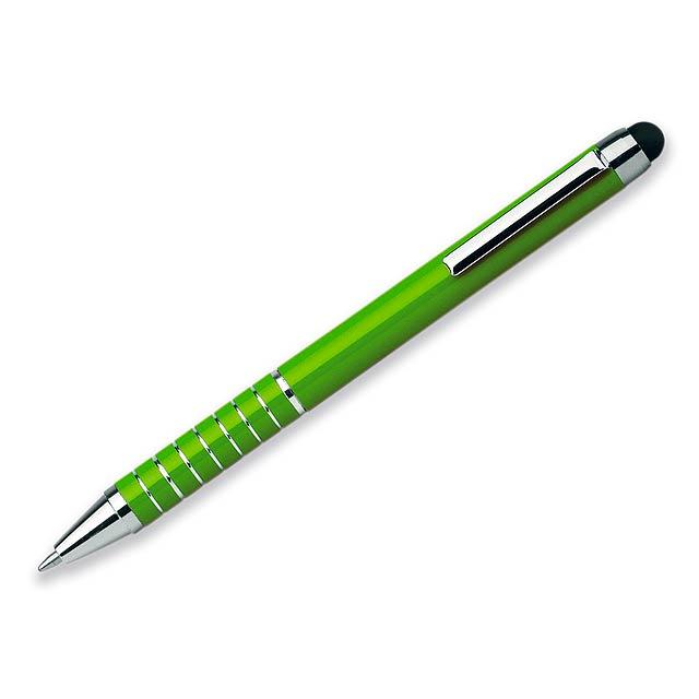 SHORTY - Kovové kuličkové pero s modrou náplní a funkcí touch pen.       - citrónová - limetková