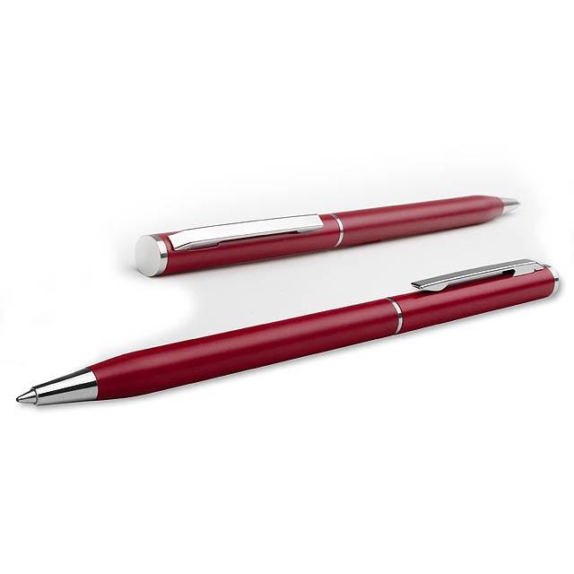 SLIM METAL - kovové kuličkové pero - červená