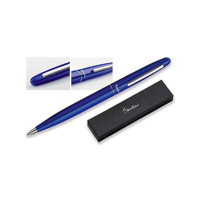 GROOVY - kovové guľôčkové pero v darčekovej krabičke, SANTINI modrá, - modrá