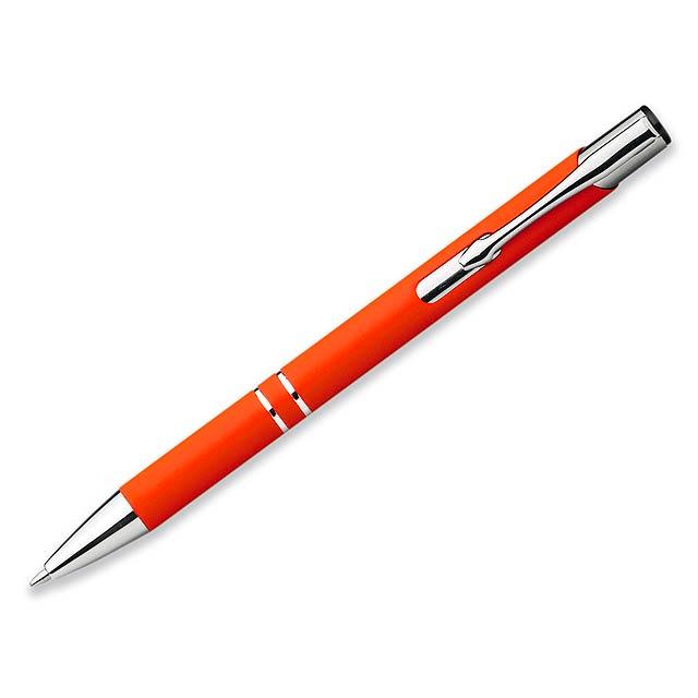 OLEG SOFT kovové kuličkové pero s pogumovaným povrchem, modrá náplň, Oranžová - oranžová