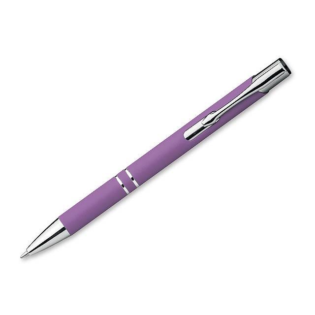 OLEG SOFT - Kovové kuličkové pero s modrou náplní a pogumovaným soft touch povrchem.     - fialová