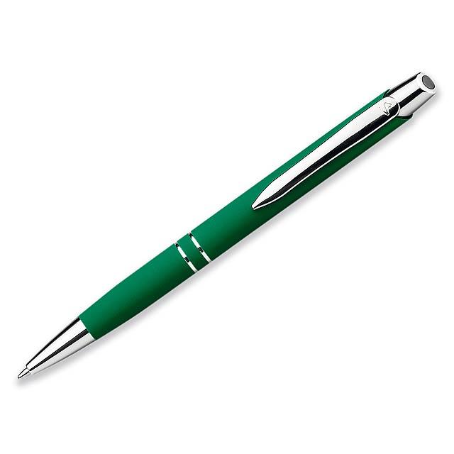 MARIETA SOFT - Kovové kuličkové pero s modrou náplní a pogumovaným soft touch povrchem.     - zelená