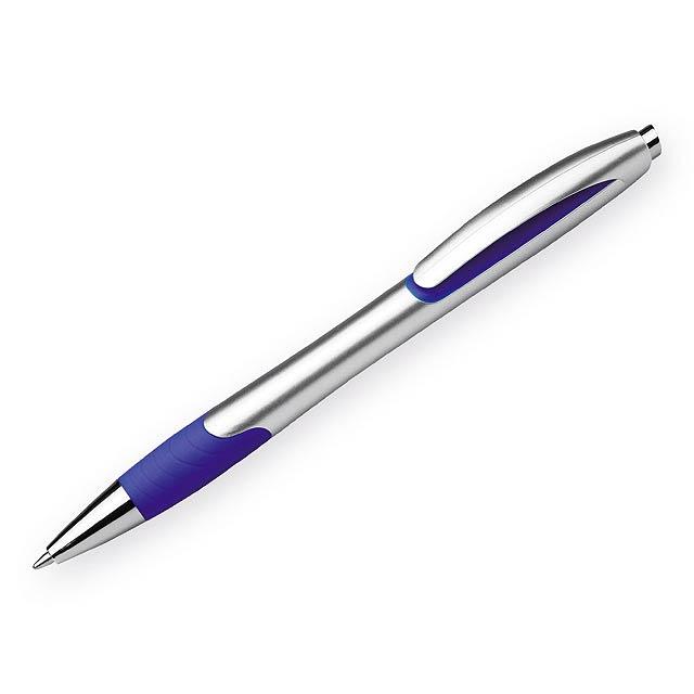 MILEY SILVER - Plastové kuličkové pero s pryžovým gripem a modrou náplní. Tloušťka hrotu 0,7 mm, náplň  - modrá
