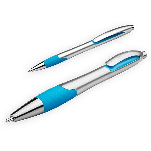 MILEY SILVER - Plastové kuličkové pero s pryžovým gripem a modrou náplní. Tloušťka hrotu 0,7 mm, náplň  - nebesky modrá
