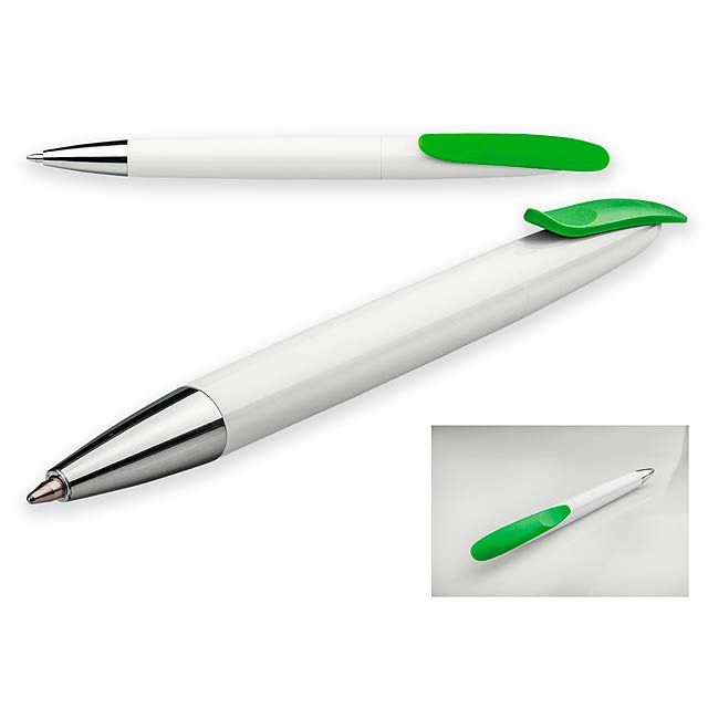 BOARDY - Plastové kuličkové pero s modrou náplní.           - citrónová - limetková