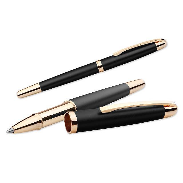 EZEKIEL ROLLER - Kovové keramické pero v papírové dárkové krabičce, náplň modrá.       - černá