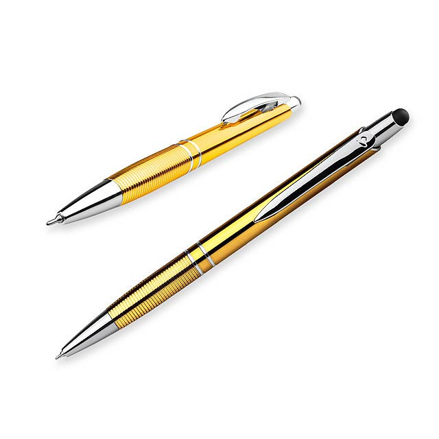 MARIETA UV STYLUS - Plastové kuličkové pero s povrchovou UV úpravou metalického vzhledu, kovovým klipem, funkcí touch pen - žlutá