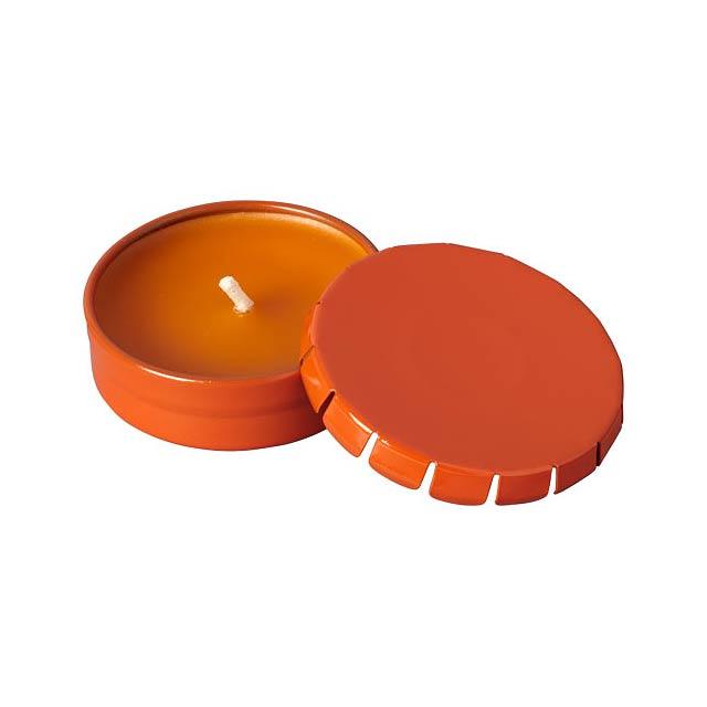 Vonná svíčka Bova v plechové krabičce - oranžová