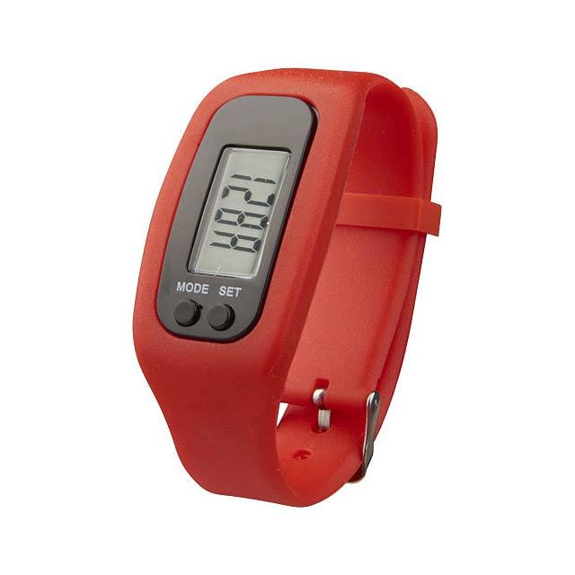 Chytré hodinky s krokoměrem Get-Fit - transparentní červená